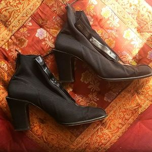 Donald J. Pliner black and cloth leather booties
